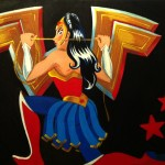 Wonderwoman for the OmniArtHouse, on a block of wood