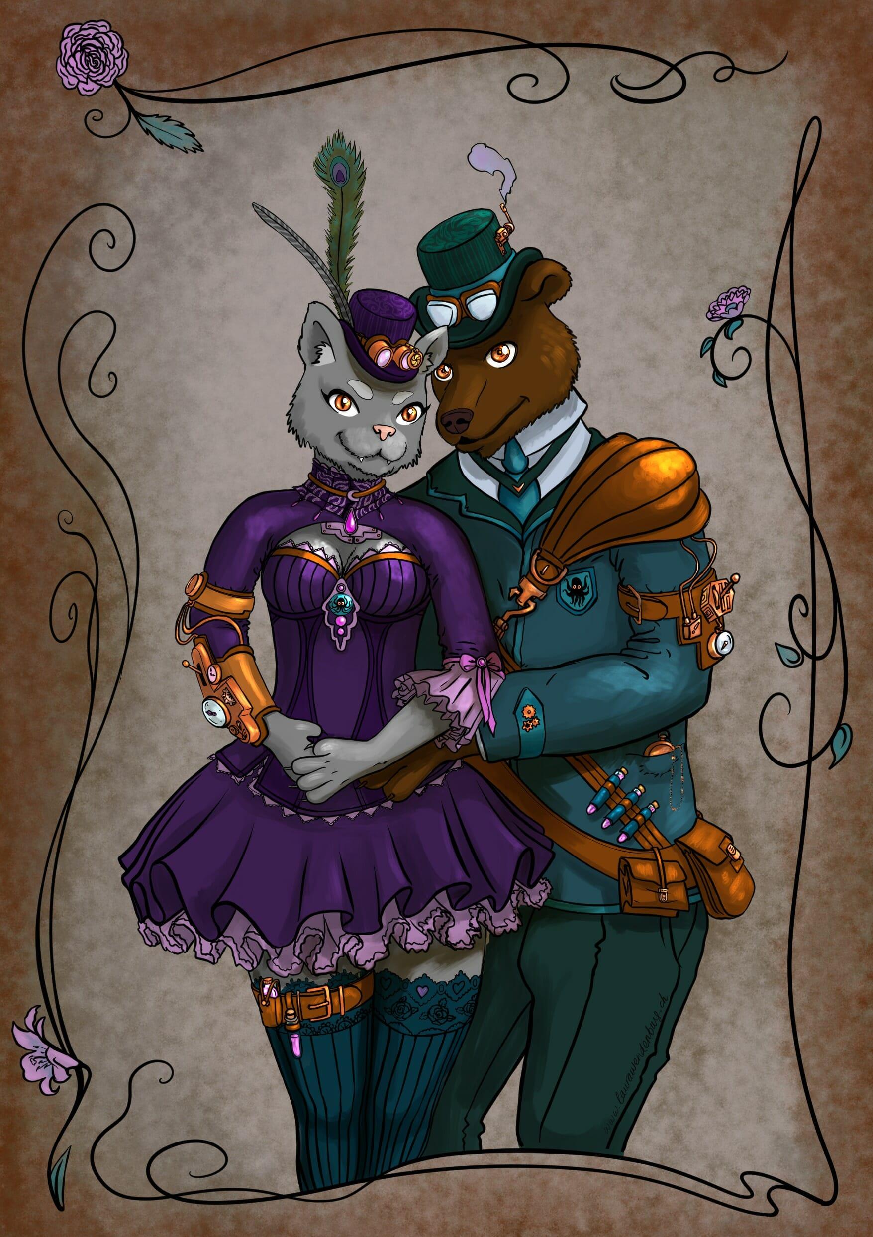 Couverture du faire part de mariage steampunk de V et V!